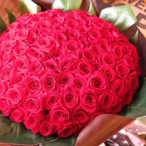 プリザーブドフラワー 赤バラ 花束 100本