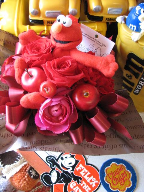 セサミストリート プレゼント 花 プリザーブドフラワー エルモ クッキーモンスター ビッグバード