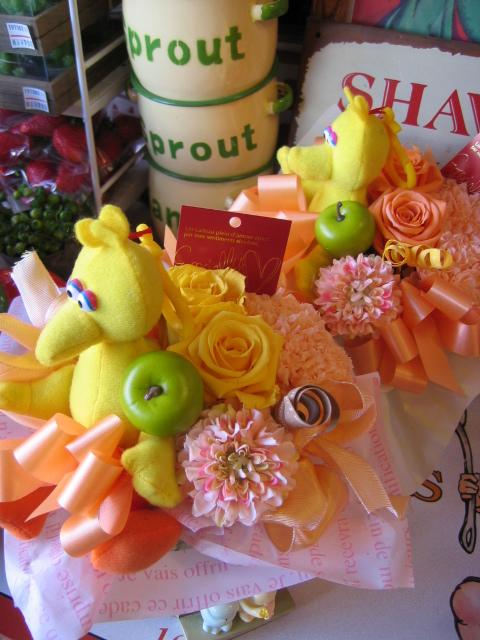 セサミストリート プレゼント 花 プリザーブドフラワー エルモ