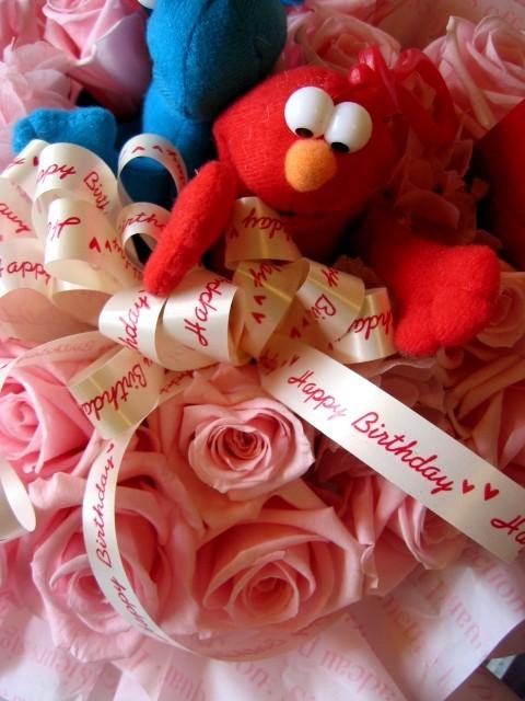 セサミストリート フラワーギフト エルモ ハート プリザーブドフラワー プレゼント 花 クッキーモンスター ビックバード